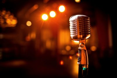 Microphone on stage indoors