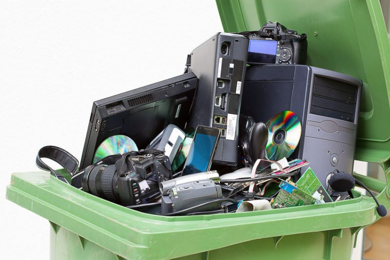 Discarded electronics in correct recycling bin